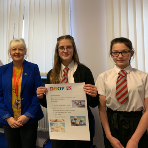 Members of the Carnoustie High School anti-bullying group with their teacher.